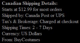 Canadian Shipping Information